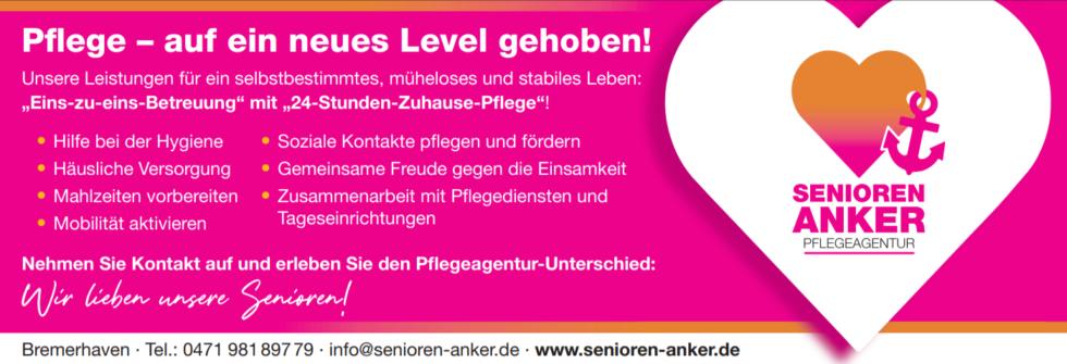 24-Stunden-Zuhause-Pflege - Pflegeagentur Senioren Anker Bremerhaven